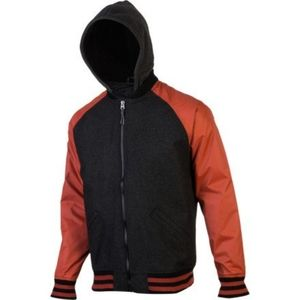 NWT BILLABONG Wool Baldwin Varsity Jacket Blk Rust